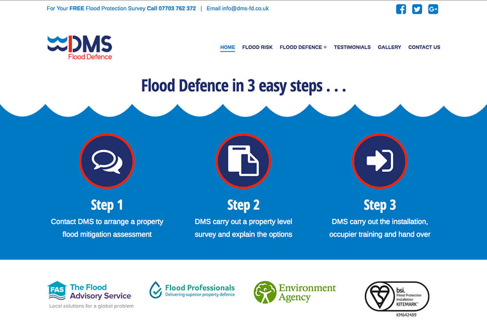 A web design for DMS Flood Defence