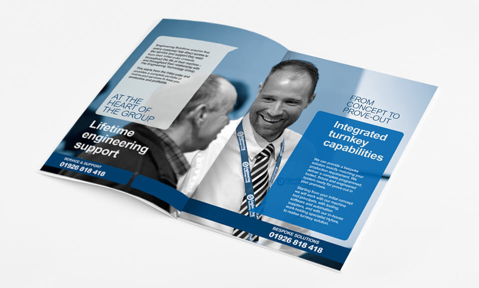 Brochure design and printing of the ETG Engineering Solutions Brochure