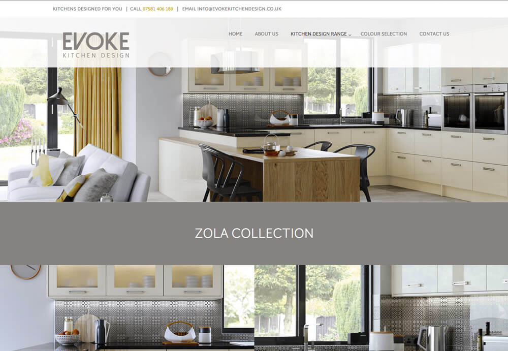 A web design for Evoke kitchen design