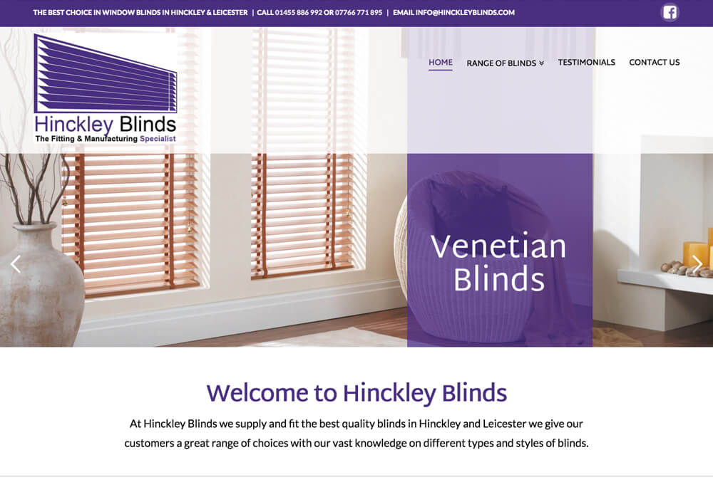Web design for hinckley blinds