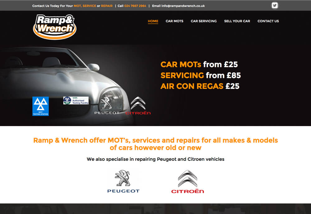Web design home page for ramp and wrench car MOT garage in coventry