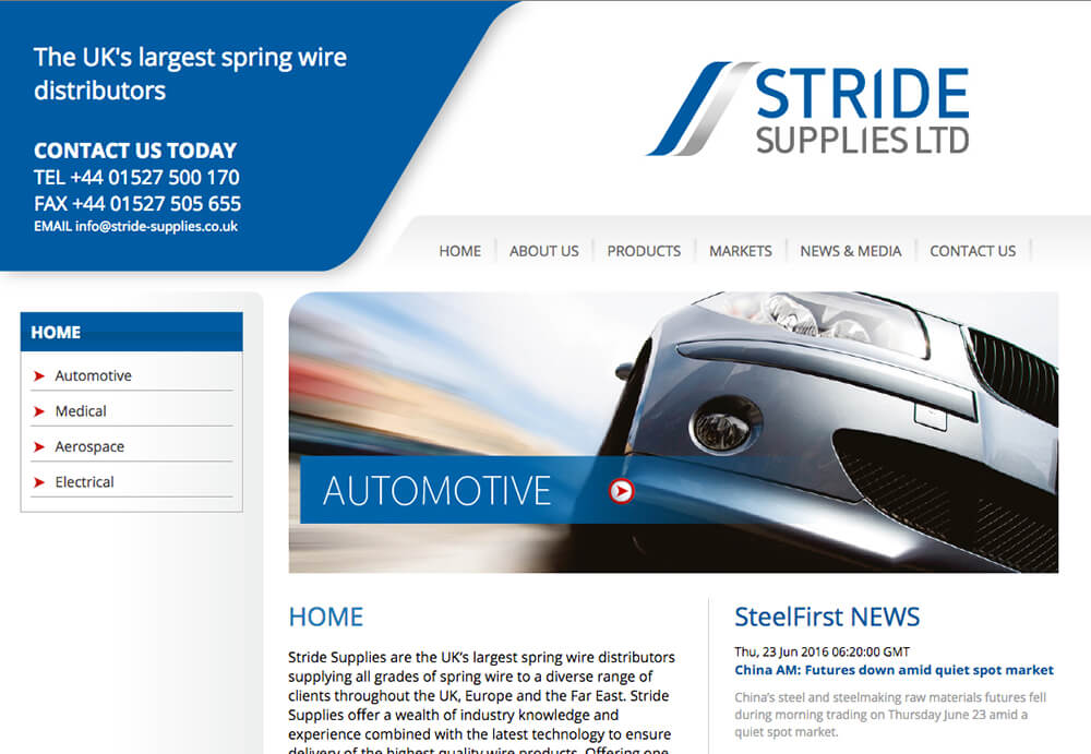 Web design for Stride Supplies Ltd, Redditch