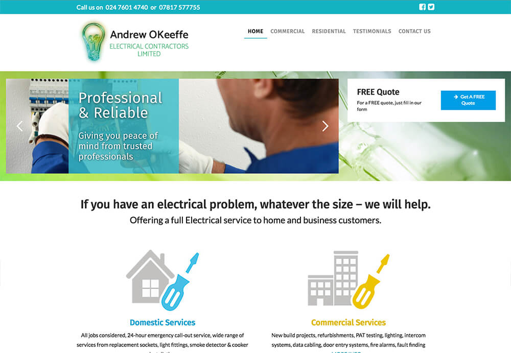 Web design home page for andrew o'keefe electrical contractors