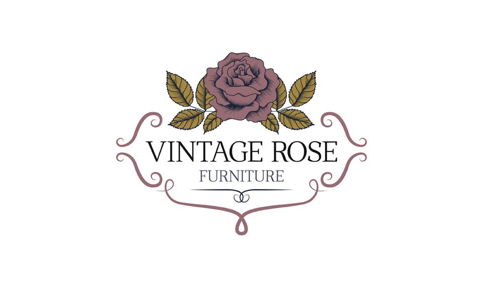 vintage furniture logo. Vintage Rose Furniture Logo