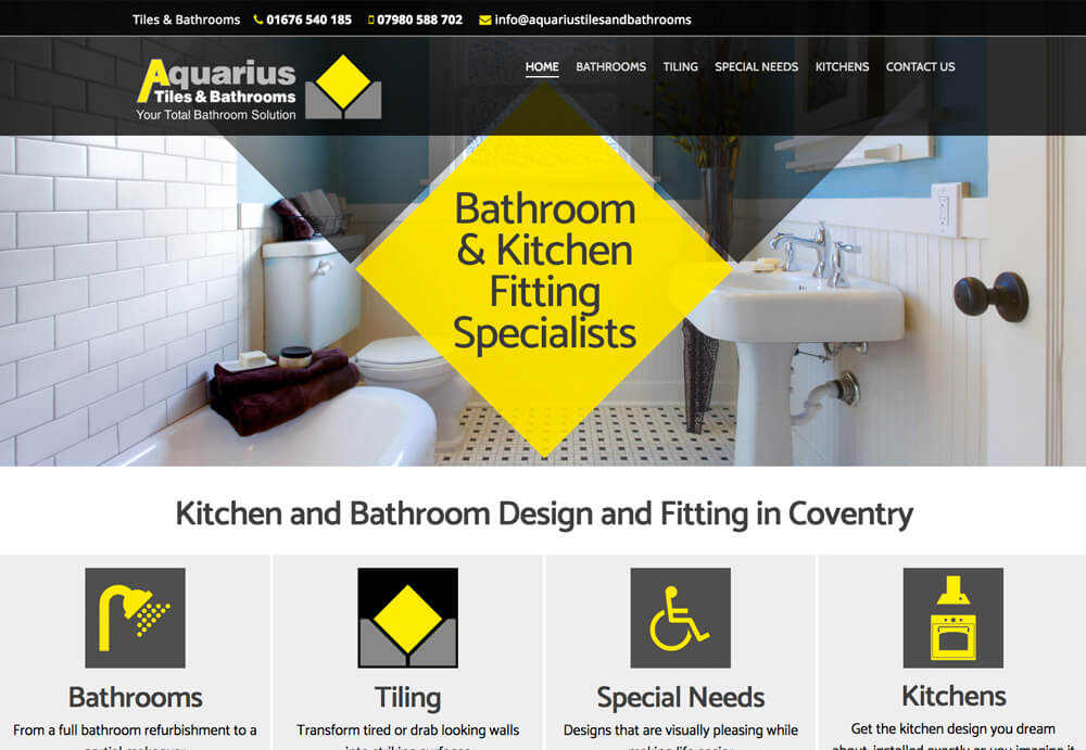 Professional Web design and web development for Aquarius Tiles & Bathrooms Website