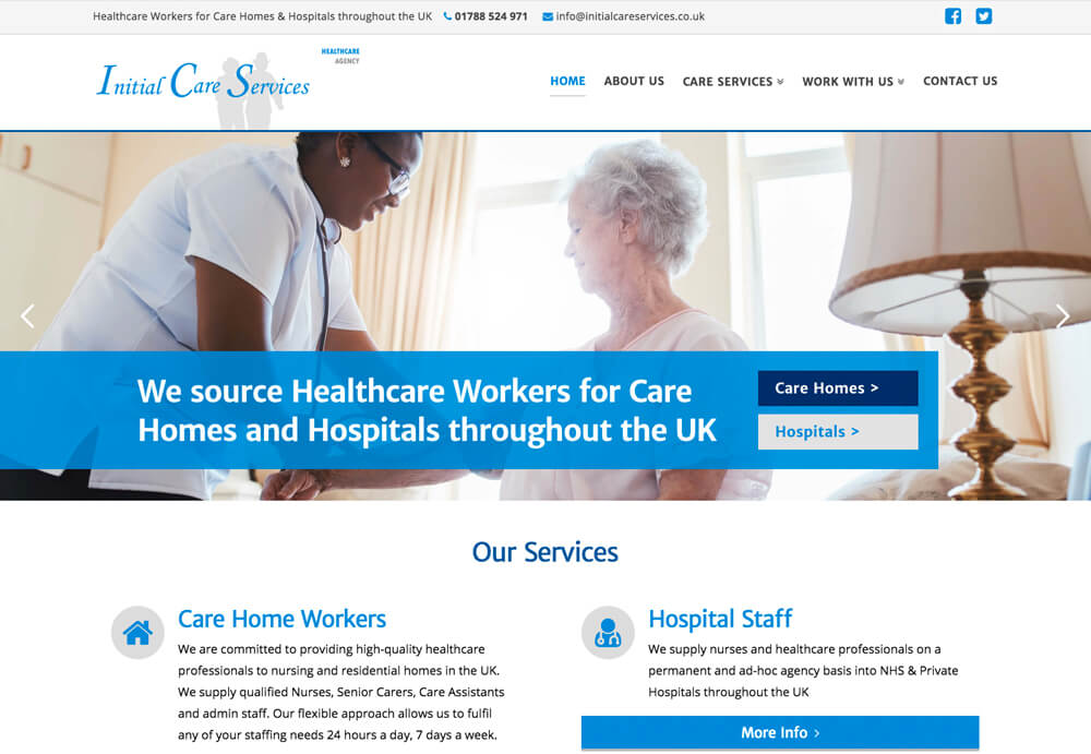 Initial Care Services Website design and website development