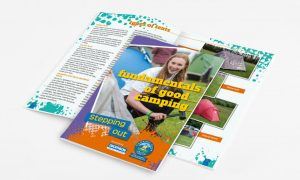 Branding design, brochure designer for The Camping & Caravanning Club Fundamentals of Good Camping Book
