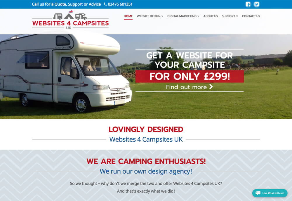 website design coventry for Websites 4 Campsites UK Website