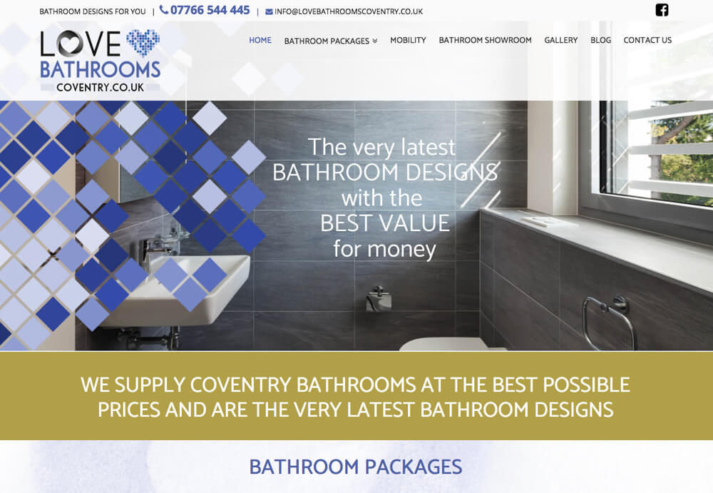 Website Design for bathroom fitter and bathroom packages
