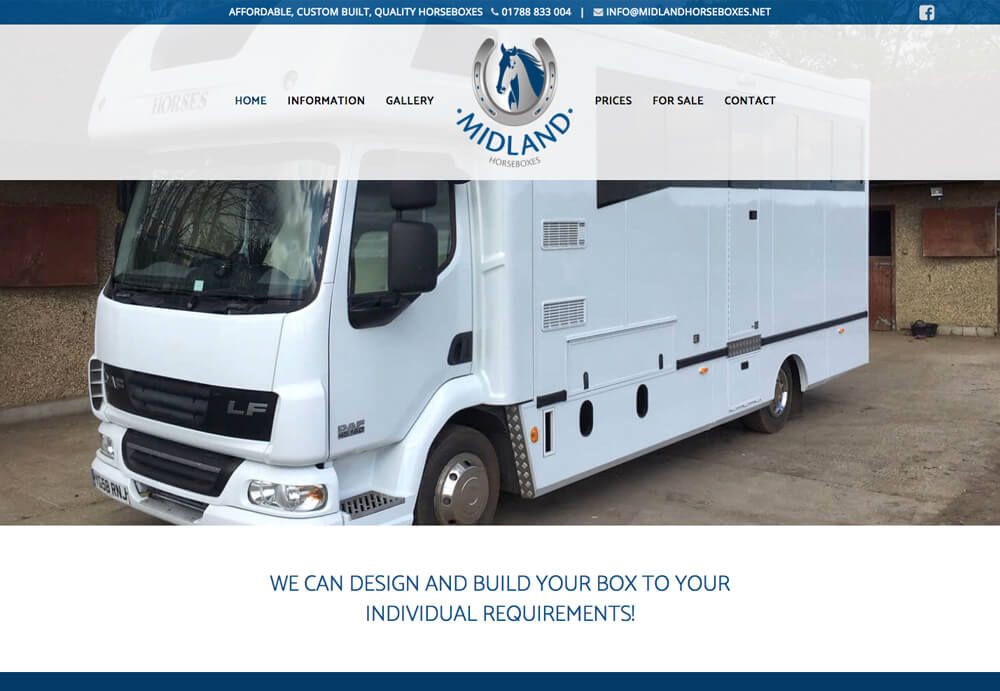 Web design sample for Midlands Horseboxes who were an existing business