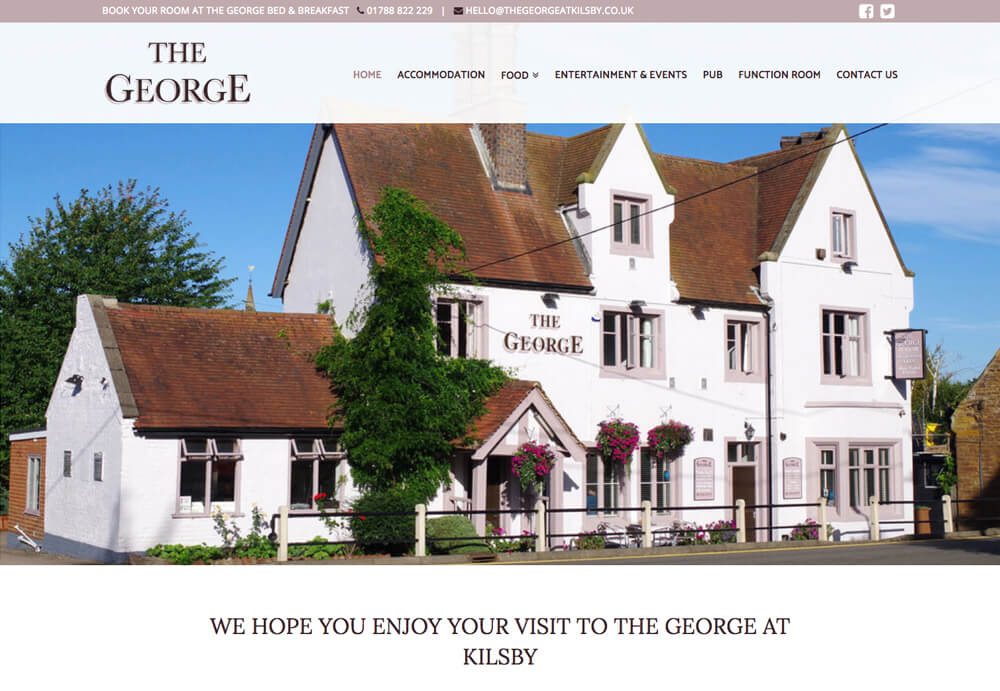 Web design for The George at Kilsby