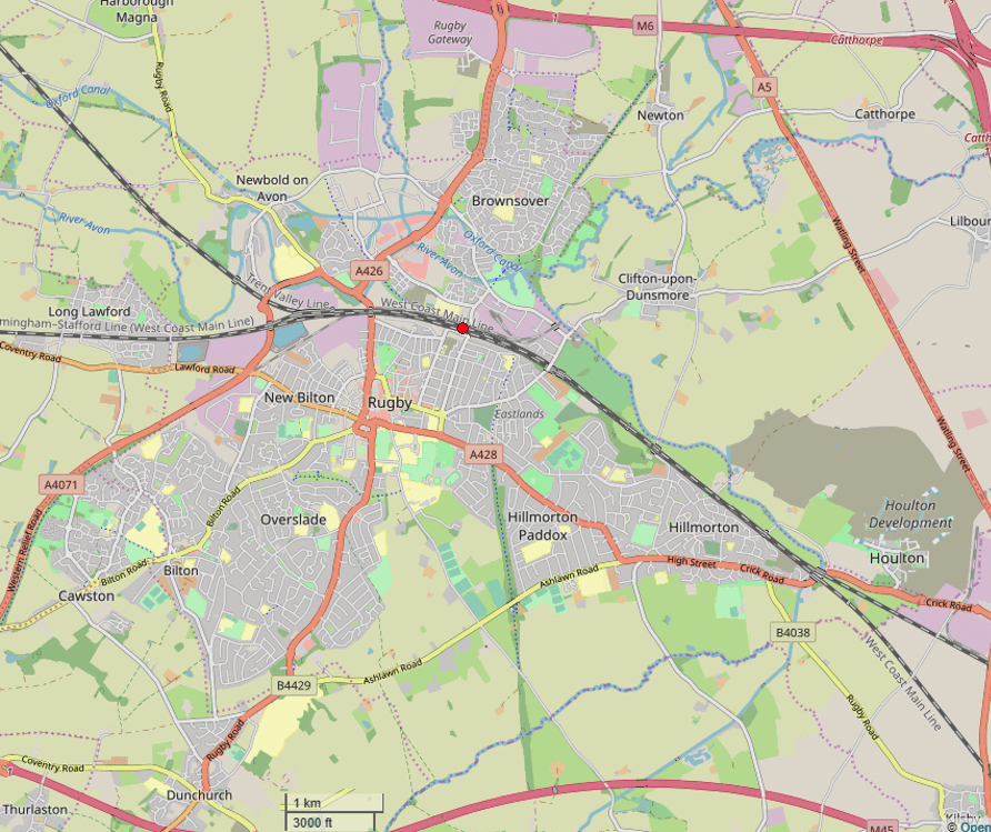 Map of rugby