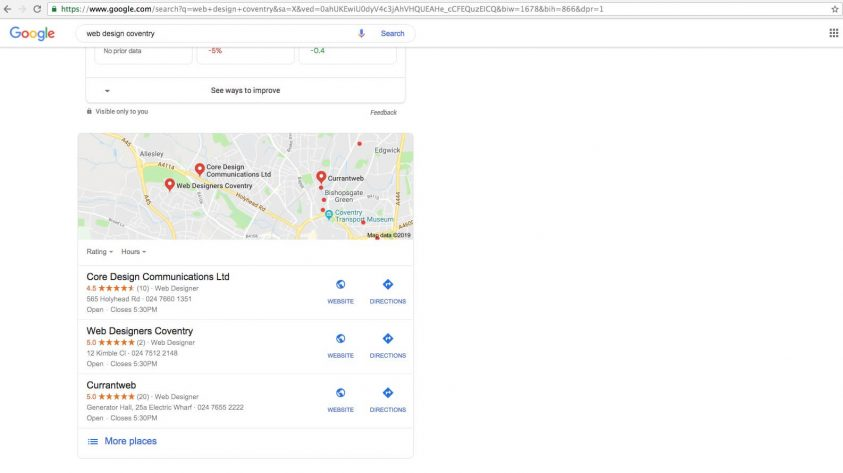Google My Business listing for web design coventry