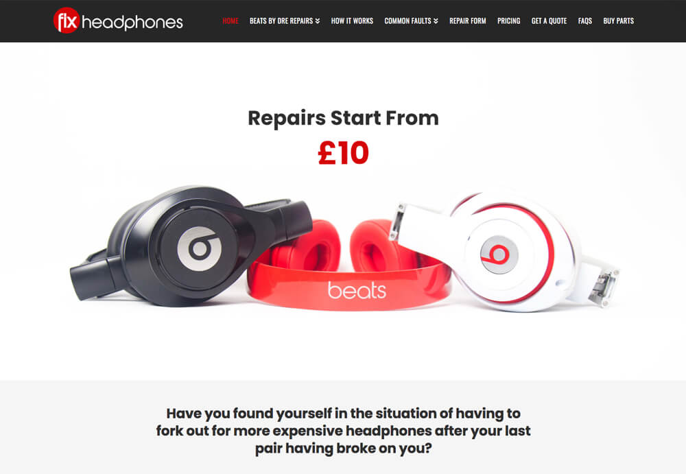 Web design for Fix Headphones
