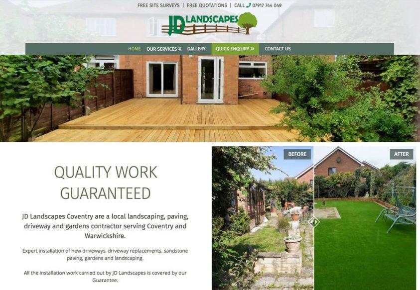 Web Design for JD Landscapes Coventry