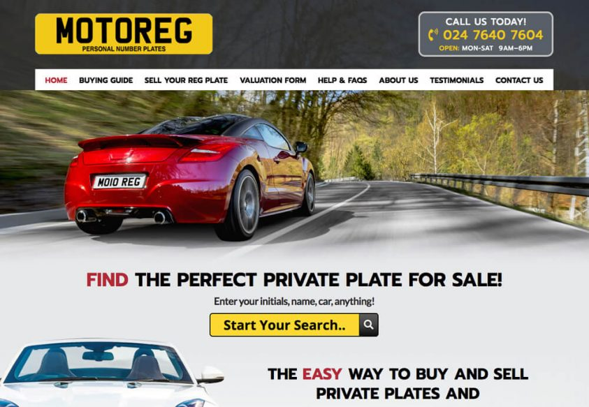 Web Design for Motoreg Private Plates for Sale