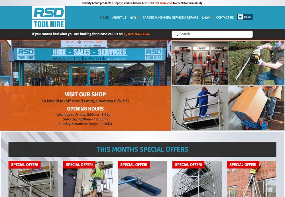 RSD Toolhire web design sample of upgraded website