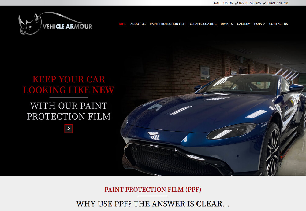 Web Design for Vehicle Armour Website