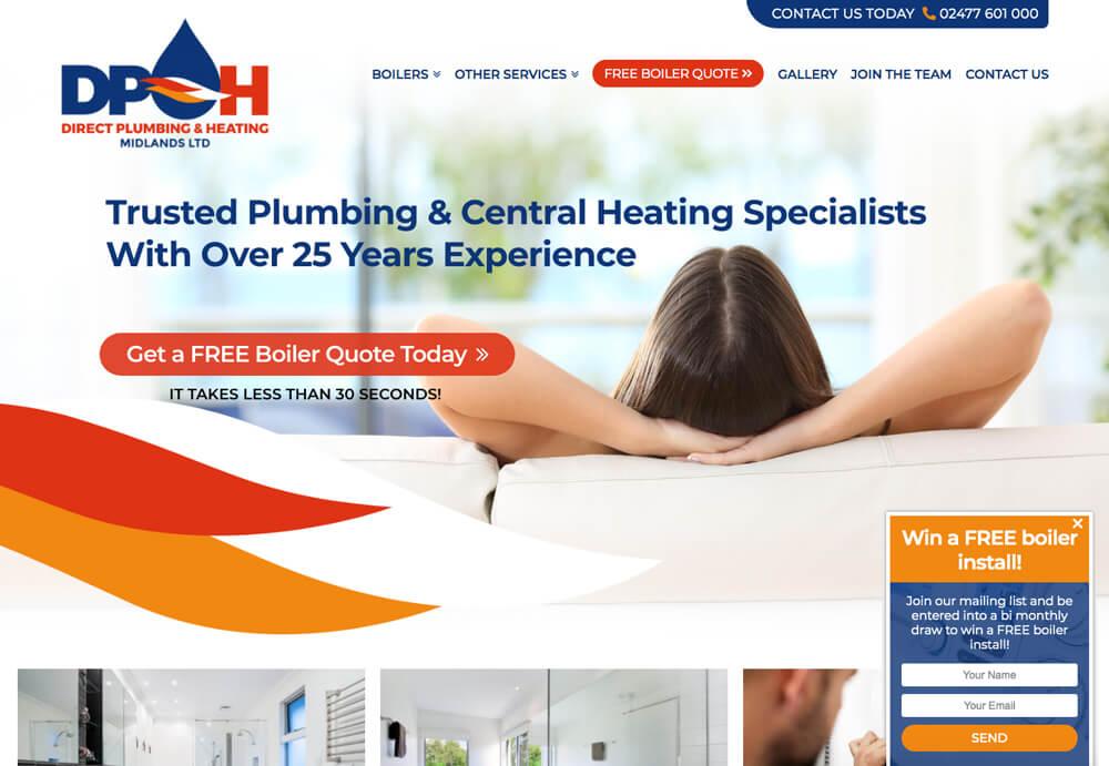 Custom Web Design for Direct Plumbing & Heating Midlands Website